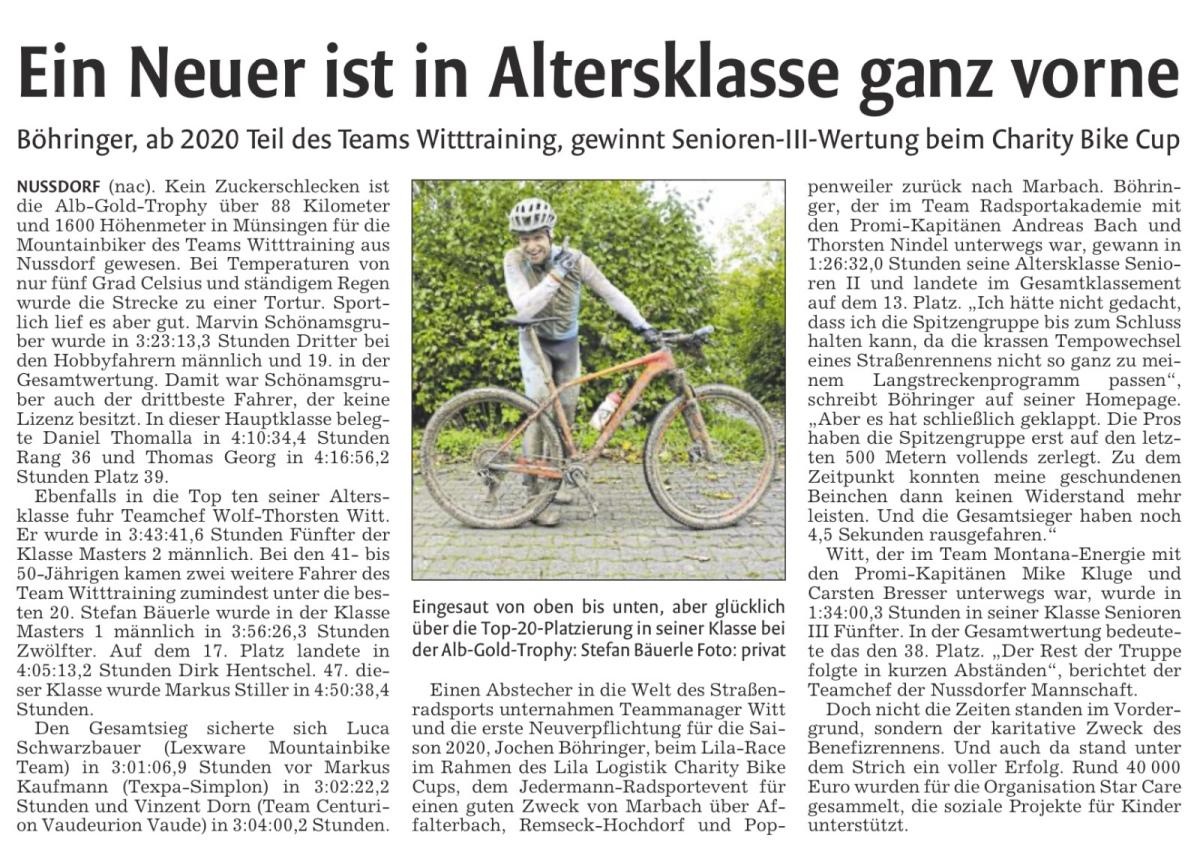 Presse – Vaihinger Kreiszeitung 12.10.2019 – Ein Neuer ist in Altersklasse ganzvorne