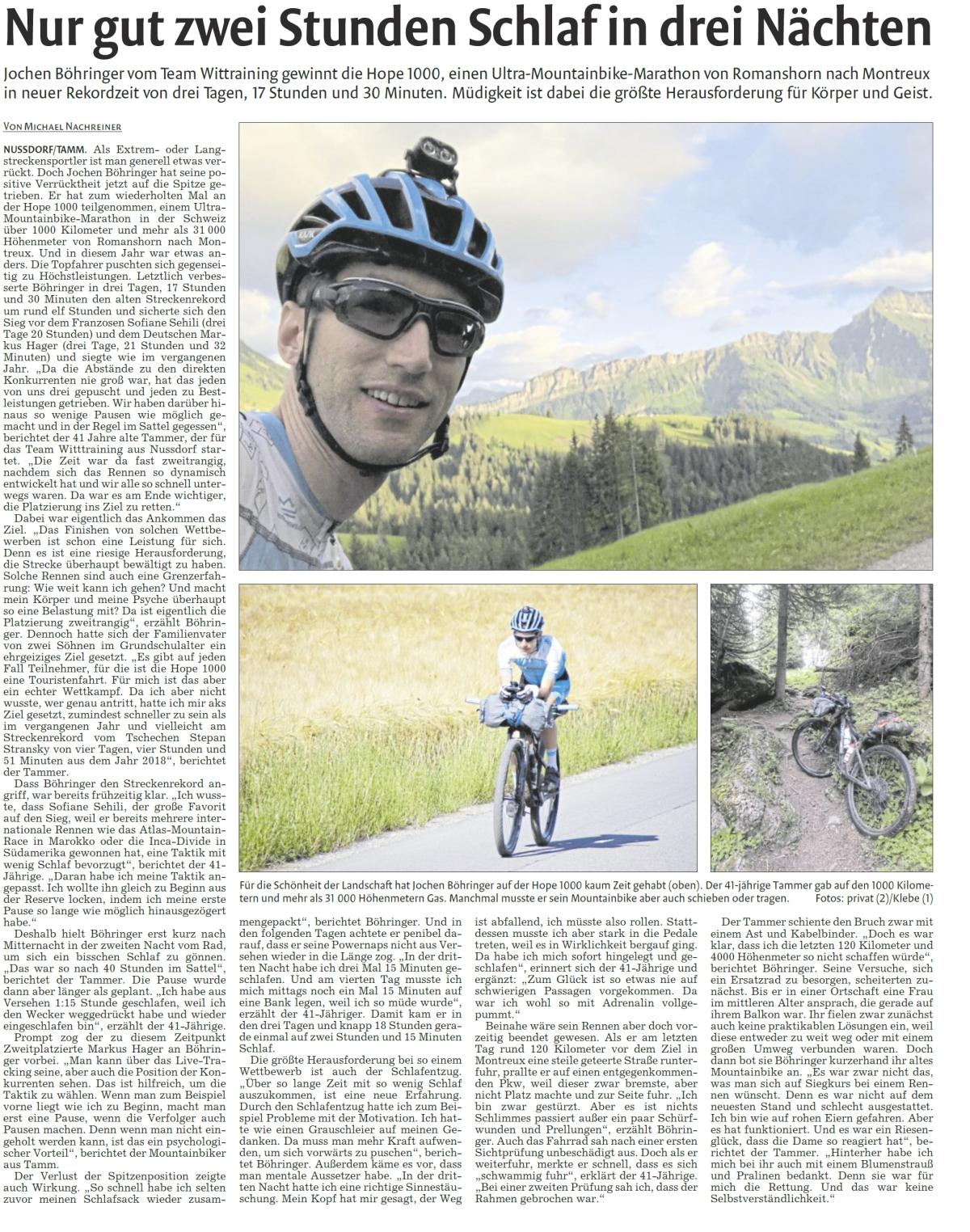Presse – Vaihinger Kreiszeitung 01.07.2020 – Nur gut zwei Stunden Schlaf in dreiNächten